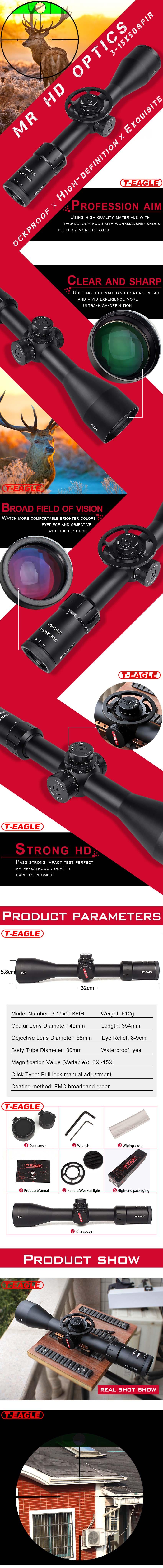 Best Rifle Scope T-Eagle MR 3-15X50 SFIR Optic Sight Scopes pic-1