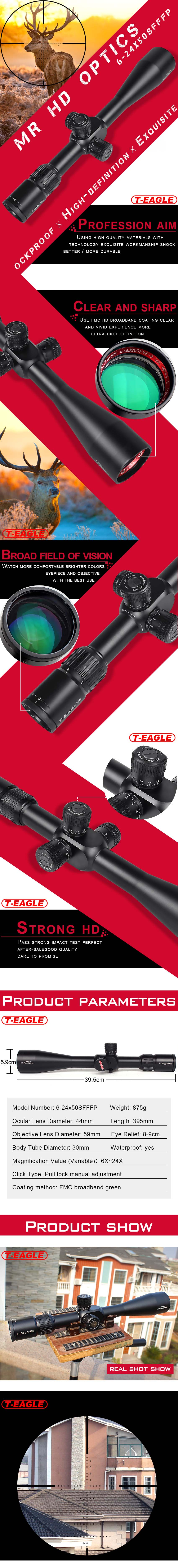 T-Eagle MR SF FFP 6-24x50 Tactical Red Dot Hunting Rifle Scopes pic-1